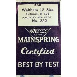 "Waltham 12 Size - ""Colonial B"" - 2237 / 232"