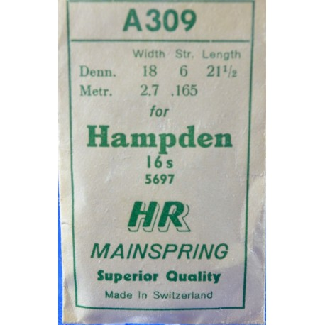 Hampden 16 Size Mainspring
